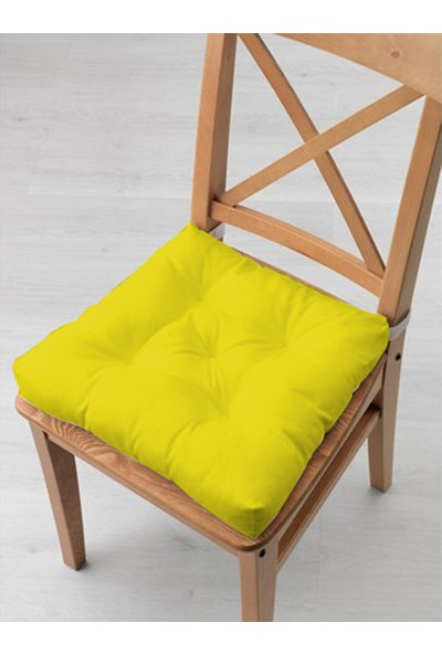 Tezkotekstil 4'lü Kombin Pofidik Kare Sandalye Minderi 40 x 40 cm Sarı-Bej