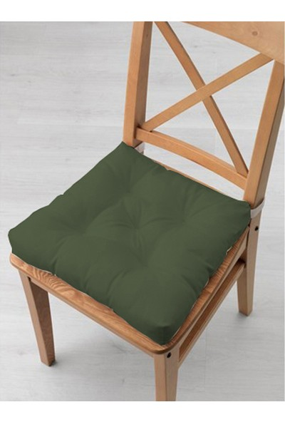 Tezkotekstil 4'lü Kombin Pofidik Kare Sandalye Minderi 40 x 40 cm Haki-Bej
