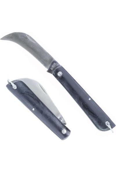Denizli Ege Çelik Aşı Bıçağı Bağ Aşı Çakısı Dövme Eğri Bıçak 20 cm