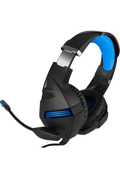Katsuta A2-Blue LED Işıklı Mikrofonlu Mobil + PC Gaming Oyuncu Kulaklığı