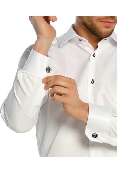 Dicotto Beyaz Yakma Desen Micro Kumaş Kol Düğmeli Slim Fit Erkek Gömlek - 222-1