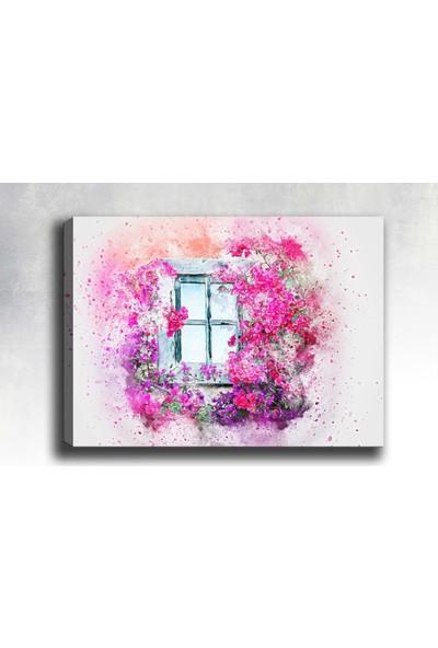 Syronix Çiçekli Pencere Kanvas Tablo