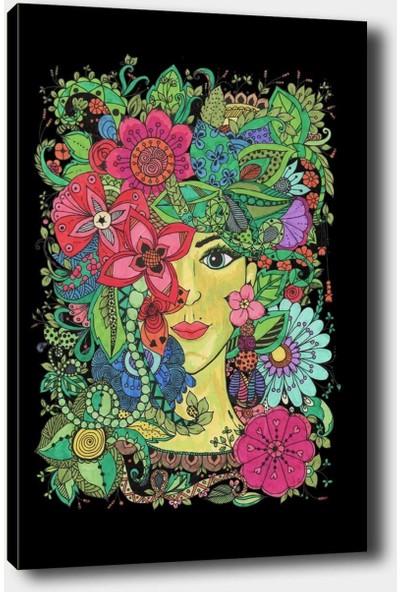 Syronix Çiçekli bayan kanvas tablo