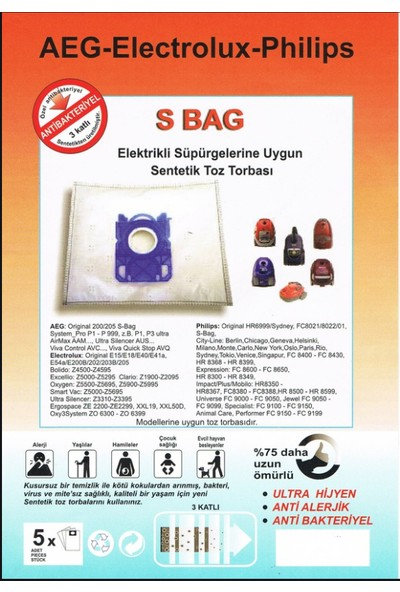 FERSAN Aeg Elektrolüx S Bab Süpürge Torbası 20 Ad