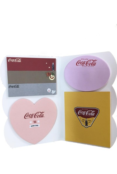 Sticky Note Coca Cola 4 Bölmeli Yapışkanlı Not Kağıdı Notluk Postit Renkli Belirteç