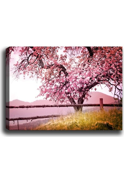 Syronix Pembe Yapraklı Ağaç Kanvas Tablo