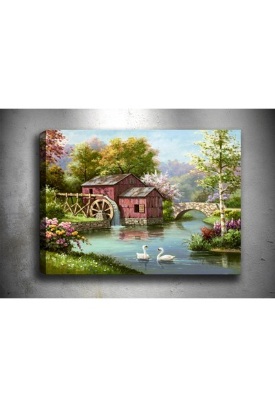 Syronix Değirmenli kuğulu göl kanvas tablo