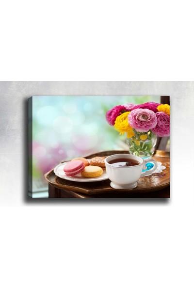 Syronix Kahve ve Çiçek Kanvas Tablo