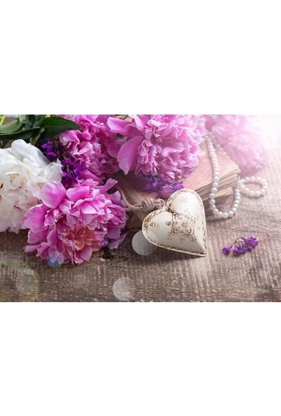 Syronix Kalp ve Çiçek Kanvas Tablo