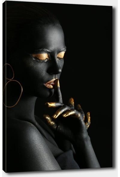 Syronix Siyah Afrikalı Sus Kız Dekoratif Kanvas Tablo