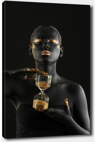 Syronix Kum Saati Afrikalı Kız Dekoratif Kanvas Tablo