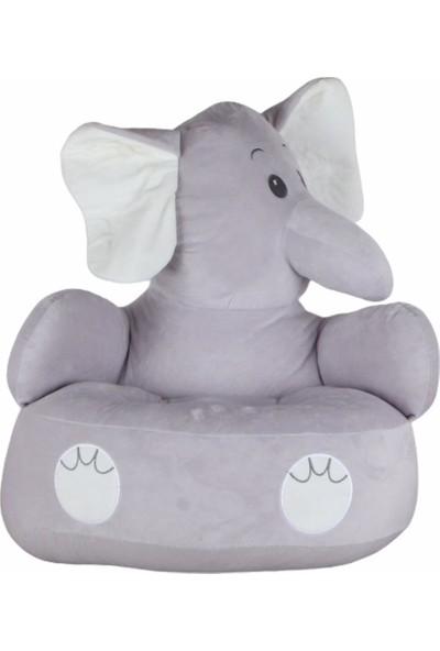 Selay Toys Selay Fil Peluş Çocuk Koltuğu Bebek Koltuğu Fil Oturma Minderi 50 cm