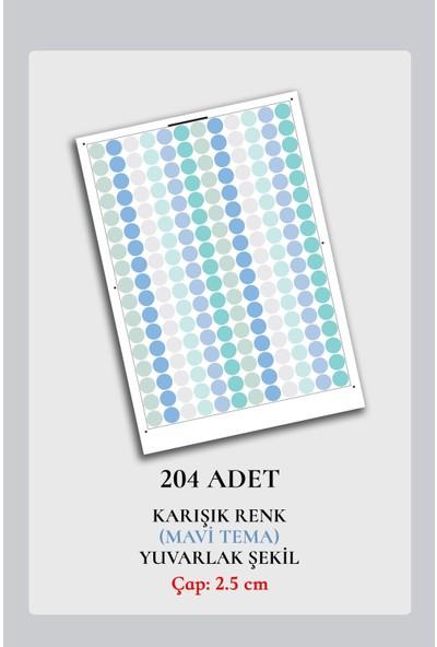 Walldeco Mavi 204 Adet Yuvarlak Duvar Stickerı