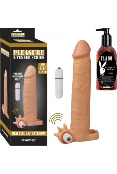 Arm Damarlı Klitoris Uyarıcılı Titreşimli Penis Kılıfı ve Playboy Masaj Yağı