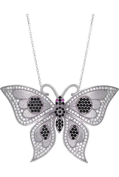 Enes Store 925 Ayar Siyah Taşlı Kelebek Uzun Kadın Gümüş Kolye