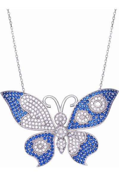 Enes Store 925 Ayar Mavi Taşlı Kelebek Uzun Kadın Gümüş Kolye