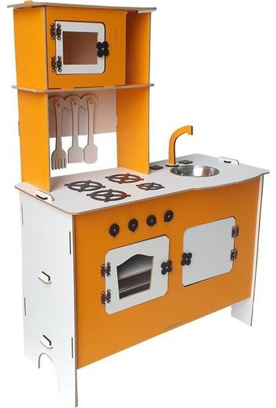 Woodlife Ahşap Oyuncak Mutfak Seti Eğitici Montessori Oyuncak Turuncu Mutfak