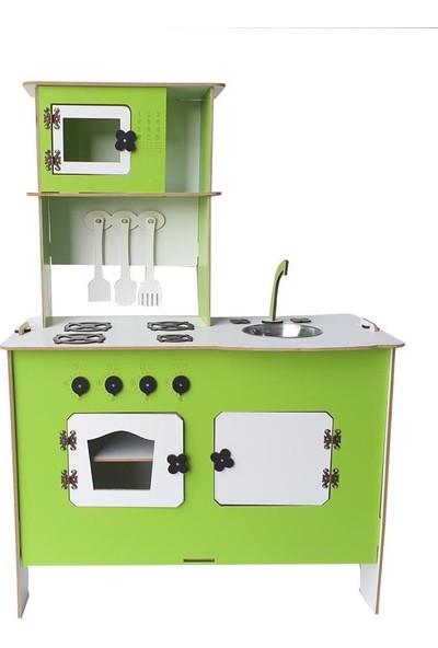 Woodlife Ahşap Oyuncak Mutfak Seti Eğitici Montessori Oyuncak Mavi Mutfak Seti
