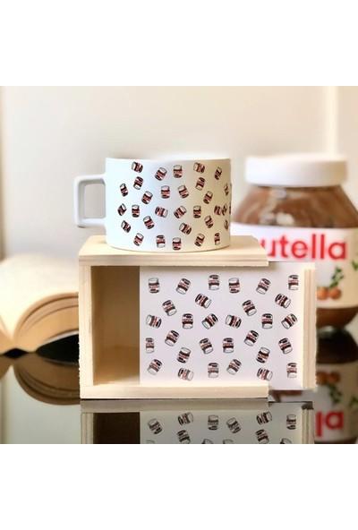 Arow Nutella Tasarımlı Ahşap Kutulu Kupa Bardak