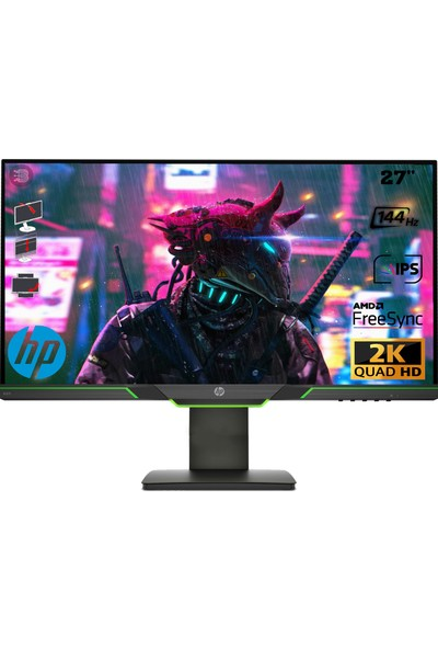 "HP X27I 27"" 144Hz 4ms (Hdmı+Display) Freesync 2k Qhd IPS Oyuncu Monitör 8GC08AA"