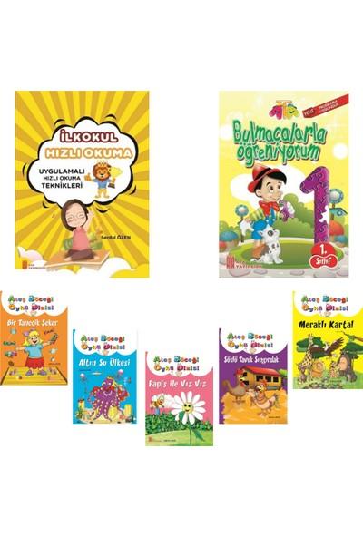 Ata Yayıncılık 1. Sınıf Hızlı Okuma Kitabı+Bulmacalarla Öğreniyorum+1. Sınıf 5'li Hikaye Kitabı Seti