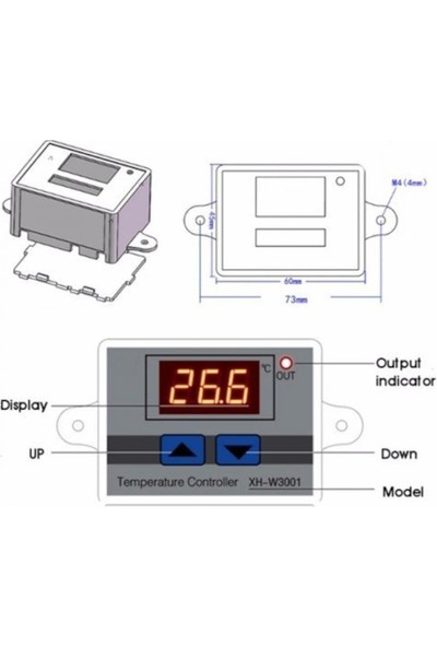 Emay Center XH-W3001 220V Ac Dijital Termostat Akvaryum Kuluçka Modül, Sensör