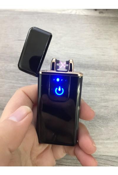 Silvio Monetti Siyah USB Şarjlı Dokunmatik Çakmak Kutulu
