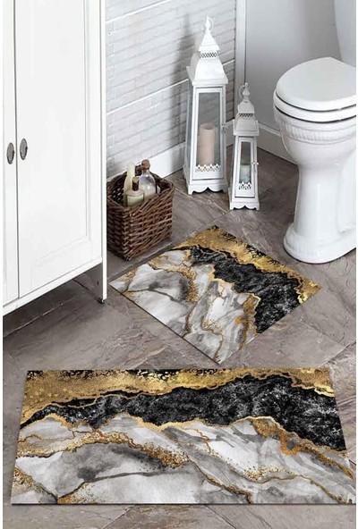 Soley Koyu Renk Mermer Baskılı Banyo Paspas Takımı