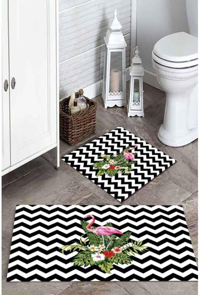 Soley Zigzag Çiçekli Filamingo Baskılı Banyo Paspas Takımı