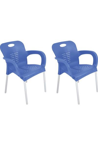 Romanoset Plastik Romanoset 2 Li Set Nil Demir Ayaklı Plastik Kollu Sandalye