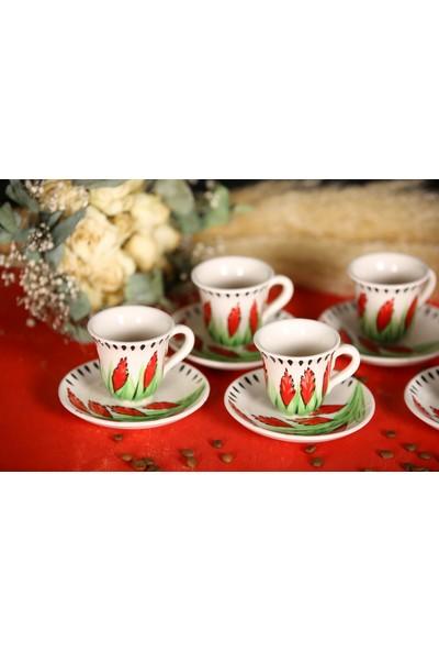 İlbay Çini Takı El Yapımı 6 Lı Seramik Kahve Fincanı Takımı