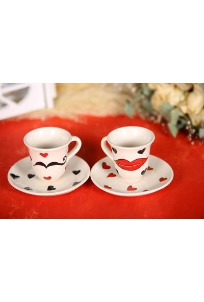 İlbay Çini Takı El Yapımı 2 Li Seramik Kahve Fincanı Takımı
