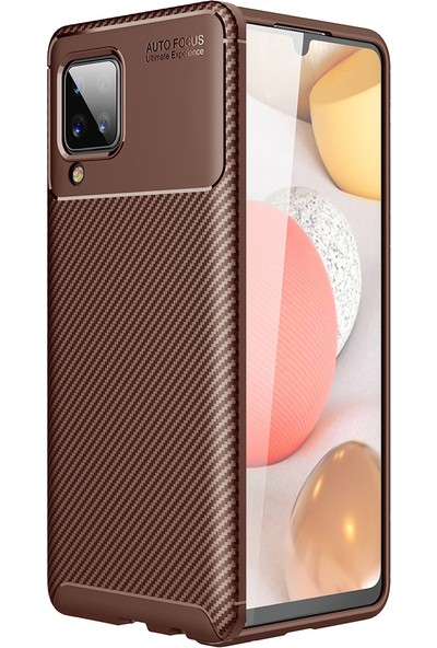 Kny Samsung Galaxy A12 Kılıf Karbon Desenli Lux Negro Silikon+Nano Cam Ekran Koruyucu Kahverengi