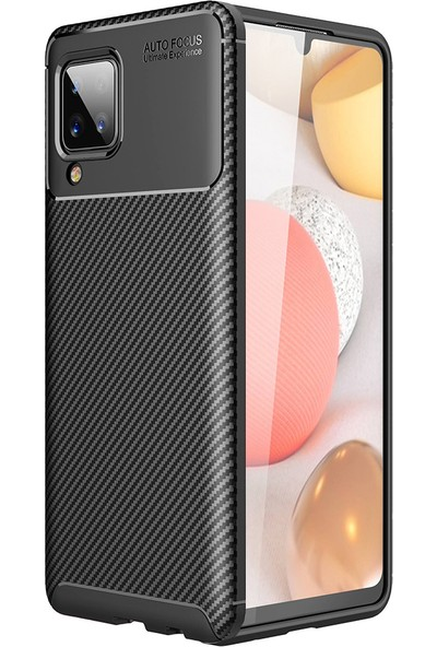 Kny Samsung Galaxy A12 Kılıf Karbon Desenli Lux Negro Silikon+Nano Cam Ekran Koruyucu Siyah