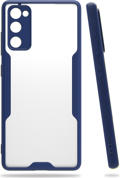 Kny Samsung Galaxy S20FE Kılıf Silikon Kenarlı Renkli Parfe Kapak+Cam Ekran Koruyucu Lacivert