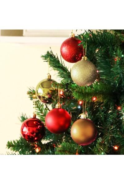 Buyfun Noel Mat Parlayan Boyalı Asılı Top 3 cm 24'lü