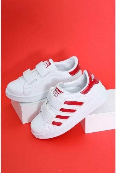 Epaavm Beyaz Yanı Kırmızı Şeritli Çocuk Ayakkabı