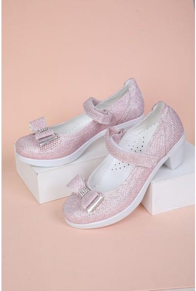 Epaavm Topuklu Simli Pembe Kız Çocuk Ayakkabı