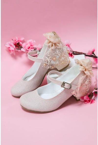 Epaavm Topuklu Pudra Simli Kız Çocuk Ayakkabı