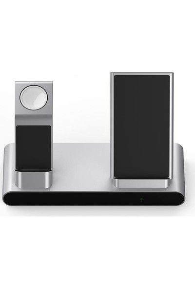 Wiwu MF500 3 In 1 Kablosuz Şarj Standı Qi Wireless Şarj Istasyonu iPhone & Airpods & Apple Watch Uyumlu