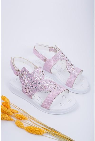 Epaavm Taşlı Pudra Çocuk Sandalet