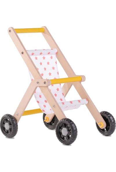 Mamatoyz Ahşap Oyuncak Bebek Arabası - Pembe