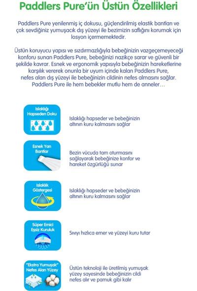 Paddlers Pure 1 Numara Newborn ( 2-5 kg ) 120 Adet Bebek Bezi + 16X40 Islak Havlu