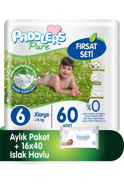 Paddlers Pure 6 Numara X-Large ( 15 + kg ) 60 Adet Bebek Bezi + 16X40 Islak Havlu