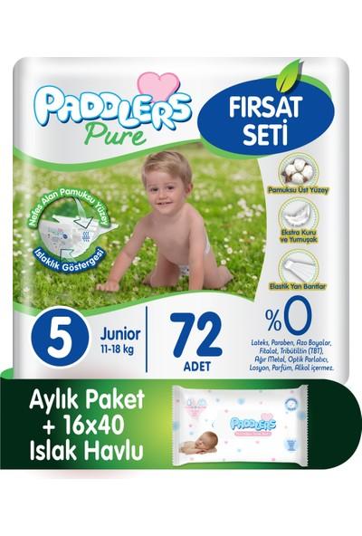 Paddlers Pure 5 Numara Junior (11-18 kg ) 72 Adet Bebek Bezi + 16X40 Islak Havlu