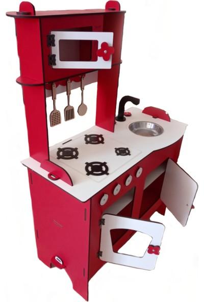 Emrin Oyuncak Hediyelik Eşya Ahşap Montessori Oyuncak Mutfak Seti - Kırmızı