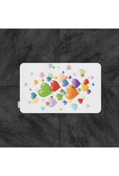 Tropik Home Balon Kalp Desenli Dijital Baskılı Püsküllü Polyester Kaymaz Tabanlı Banyo Paspası