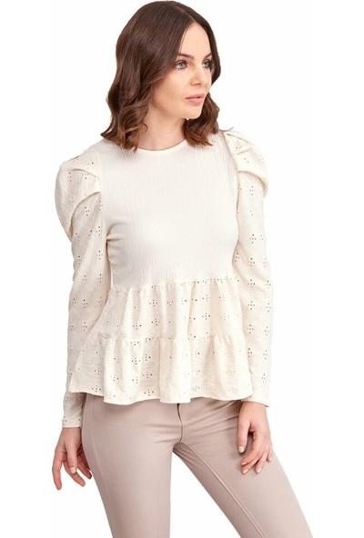 Şamdan Kadın 2354 Beyaz Bluz