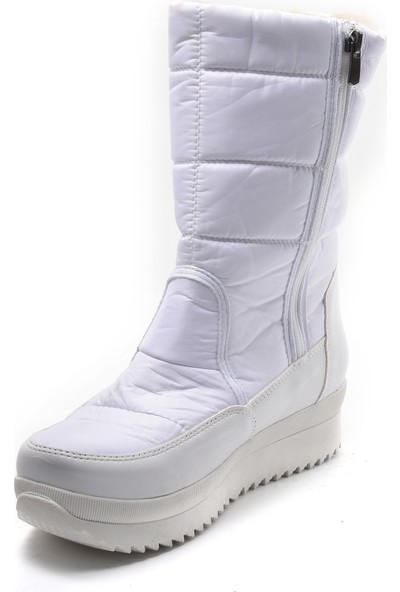 Sapin Kadın Suni Kürklü Kar Botu 37049 Beyaz 39