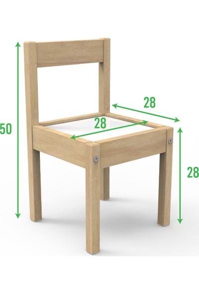 Treedi Art - Yaz Sil Yüzeyli Çocuk Masa Sandalye Takımı + Saat + Boy Ölçer Seti